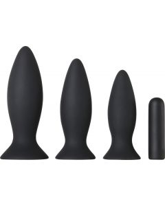 Adam & Eve Rechargeable Vibrating Anal Training Kit Zwart