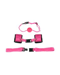 Sinners Sex Straps With Ball Gag Set Roze